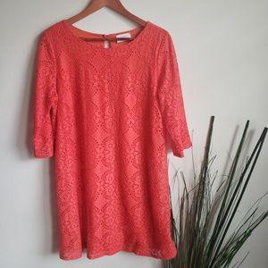 Everly | Orange Lace Tunic 3/4 Sleeve Dress